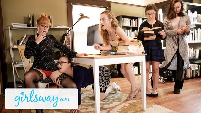 Lick library practice - Girlsway hot threesome at the library with penny pax karla kush