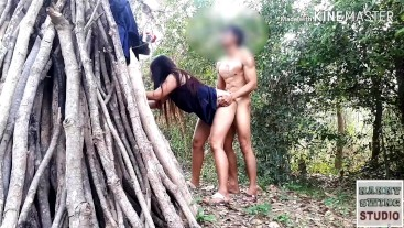 Outdoor girl fucking with a hotguy in forest beside a pile of firewood