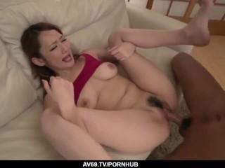 Busty Asian milf, Reon Otowa, hard fucked at home – More at 69avs com