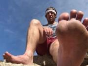 JOI: Hiker Makes Homo Worship His Dirty Feet Outdoors