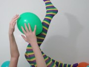 Gypsy Dolores plays with balloons, funny attempt on a balloon fetish video