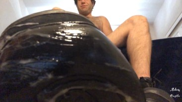 Guy Jacks Off & Makes Lover Lick Cum Off His Boots CEI