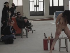 The Perfect Human - performance art by Rosario Gallardo naked in public