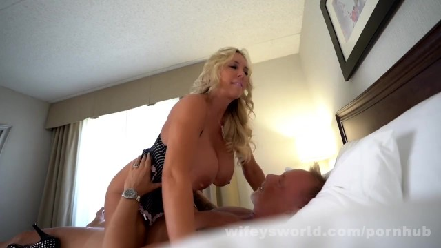 Increase volume of sperm load cumshot - Busty milf goddess swallows a second load of cum
