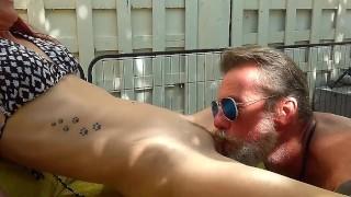 Silver daddy fucks hot girloutdoors