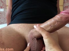 Babe Handjob Huge Cock and Cum Swallow - Female POV