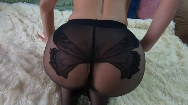 Big black amateur Gorgeous blond chick in black nylon pantyhose