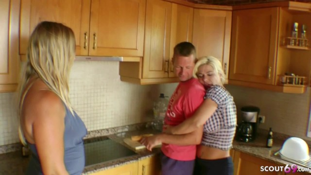 Transvestite holidays - Amateur gangbang from 3 german mature with stranger at holiday