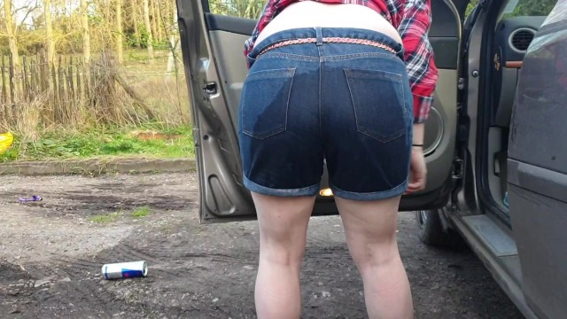Pee accidents Alice - pee accident in my jean shorts in the car, from our compilation