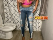 Didn't feel like using the toilet | ebony jeans wetting