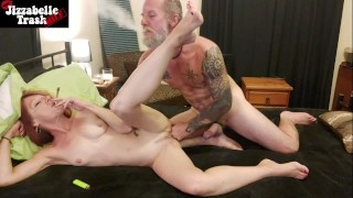 WEED SEX - hot MILF smokes a blunt while getting fucked hard