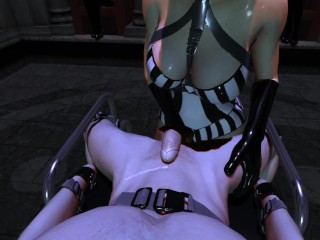 SFM VR 3D Latex Mistress Tessa milks slave through prostate/slave training