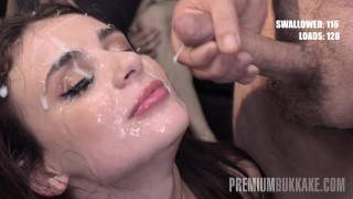 Premium Bukkake – Kate Rich swallows 141 huge mouthful cum loads