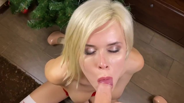 Blowjobs boob Pov horny shemale yulia makes tender christmas blowjob for eva teaser