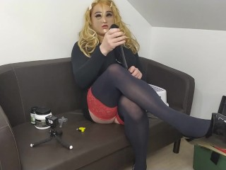 Huge  dildo in my ass and cum in my high heels