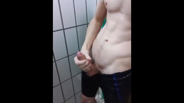 Huge gay pool Wanking my huge dick at the pool in public