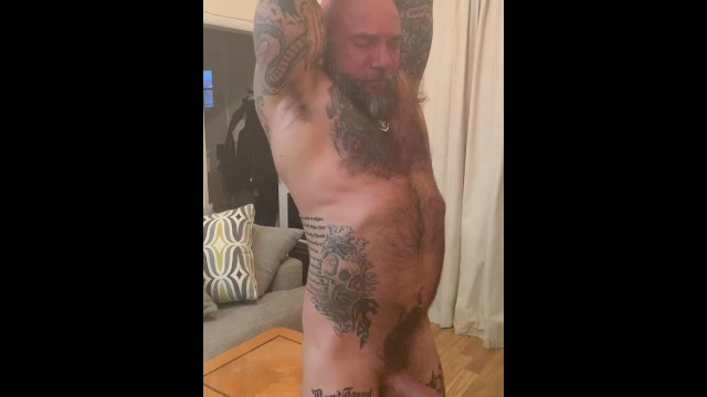 Dad bear type porn Working out naked with a hard on