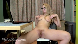 Business lady Sweetmaiden loves her hairy pussy