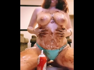 Rubbing my perky big tits w/ Whipped cream, chocolate syrup & sprinkles 4k