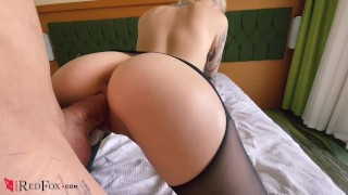 Babe in Pantyhose Pussy Licking Hard Doggy Sex and Blowjob with Cum on Tit