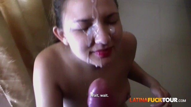 Giant dildo penetration - Pigtail blonde amateur takes giant cock in her latina pussy