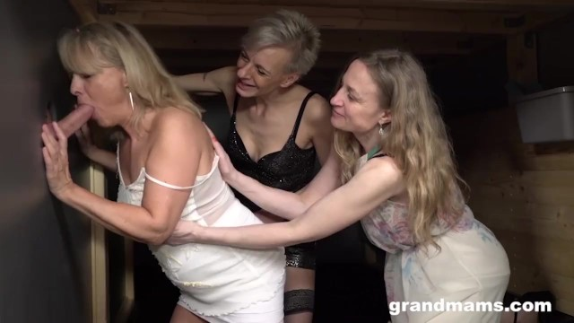 Mature stockings free - Triple blonde granny orgy