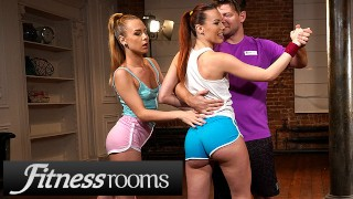 Fitness Rooms Big dick threesome with Alecia Fox and redhead Charlie Red