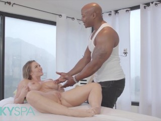 Kinky Spa - Curvy blonde Cali Carter gets stretched by BBC
