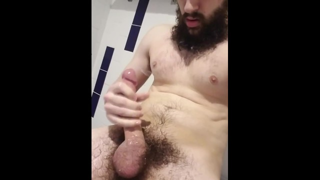 Straight beard sex - Long dick straight guy shoots cum ropes onto his beard and chest