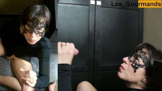 4K MILF in sexy black outfit takes big facial while masturbating her pussy