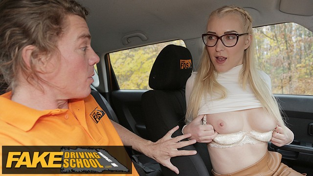 Driving cars naked xxx - Fake driving school blonde learner amaris and her perfect boobs fucked