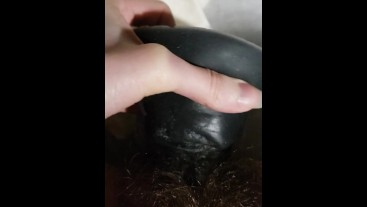 Quarantined Tiny pussy gets fucked by giant black horsecock dildo moans cum