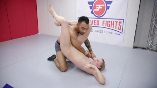 Riley Reyes mixed wrestling fight fucked in the ring by Oliver Davis
