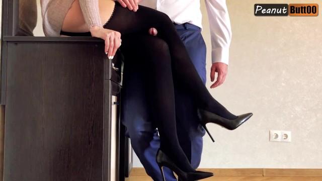 Nylon high heel porn - Legjob in black stocking and high heels knee humping and cumshot on nylon