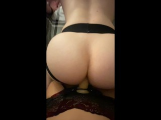 Amateur POV pegging from busty girlfriends big strapon