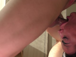 Real FIRST DEEPTHROAT for Daddy's Slut! CUM THROAT after ROUGH facefuck!