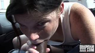 HOLLY LANE SUCKING BBC OUTSIDE HER TRAILER WHILE BOYFRIEND IS INSIDE