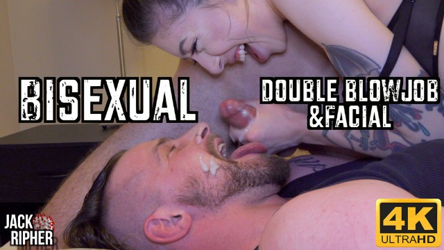 Cheekbone facial Bisexual double blowjob facial
