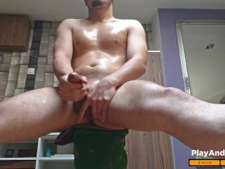 hot bisex guy huge cumshot 4K ( thick dick, moaning + slow motion )
