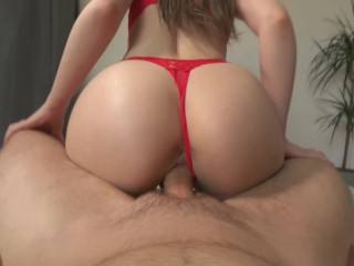 Amateur Titty PAWG Teen Rides Dick in Cowgirl Until Orgasm and Creampie POV