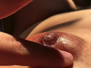 Massaging my boobs with my own vaginal fluids - Nipple playing