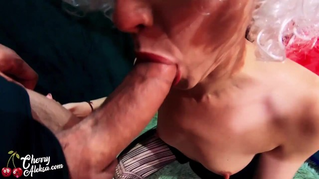 In sex wallowing Wife in white wig deep sucking dick and fucking all hole - cum swallow