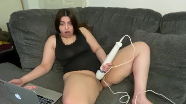 Watching porn playing with my tight pussy