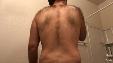 Stud Shaves & Shows Off His Hairy Back