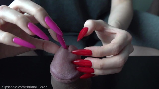 Long playing video porn - Long red nails play with peehole