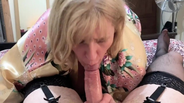 Mature amature wife blow job - Cross dressing sissy cums in mature moms mouth after sloppy blow job.