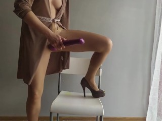 Polish milf playing with stockings and tihgts ..dirty talking