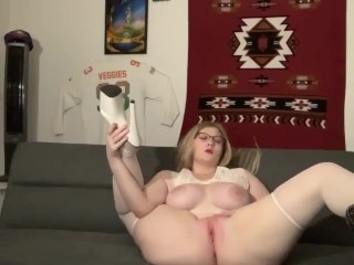 Teen pawg does a cam show in white lingerie with stripper heels
