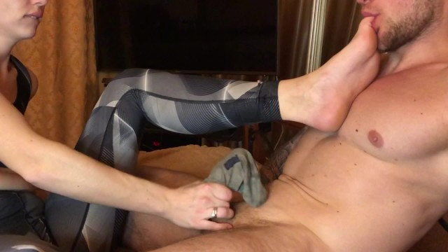 Sock handjob Sweaty socks in the face after training