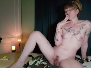Smoking,Self Massage and Squirting with my BBC dildo.